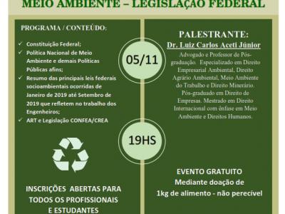 Palestra sobre Meio Ambiente – Legislação Federal de 2019