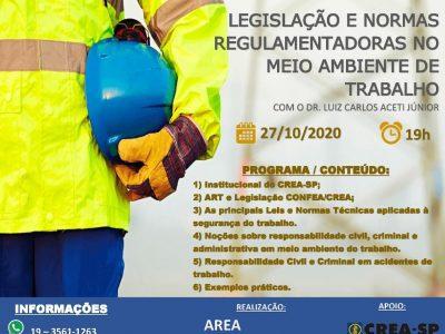 Palestra: Legislação e Normas Regulamentadoras no Meio Ambiente do Trabalho.